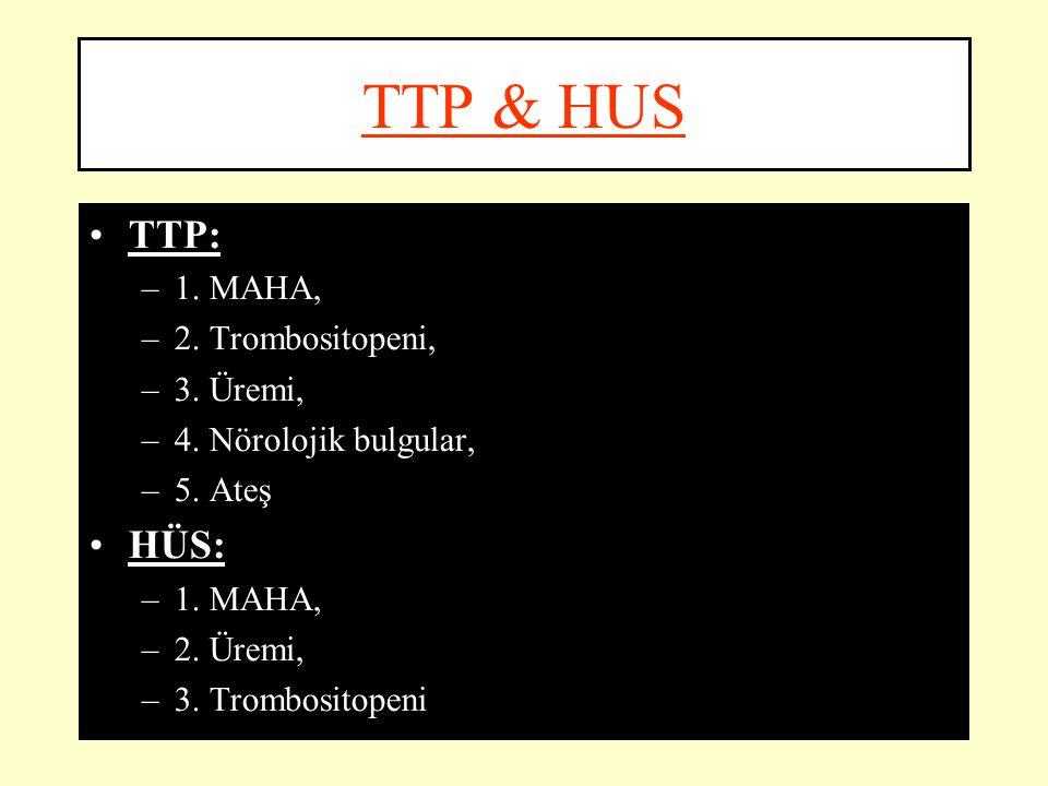 TTP & HUS TTP: –1. MAHA, –2. Trombositopeni, –3. Üremi, –4. Nörolojik bulgular, –5. Ateş HÜS: –1. MAHA, –2. Üremi, –3. Trombositopeni