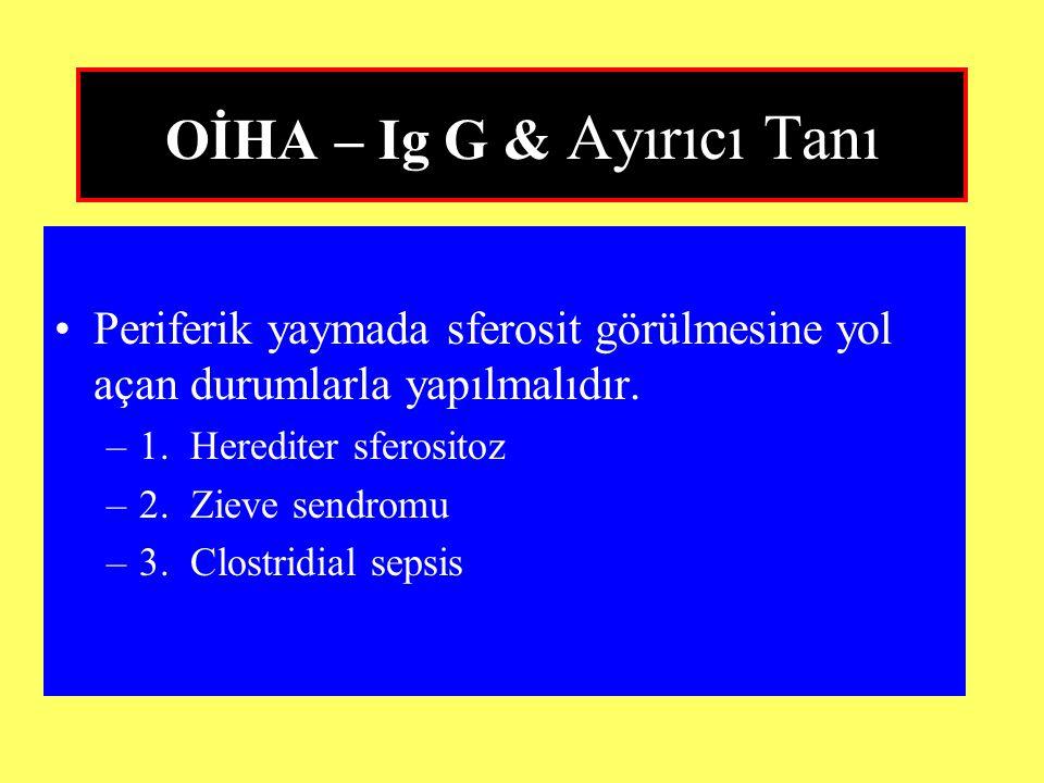 OİHA – Ig G & Ayırıcı Tanı Periferik yaymada sferosit görülmesine yol açan durumlarla yapılmalıdır. –1. Herediter sferositoz –2. Zieve sendromu –3. Cl