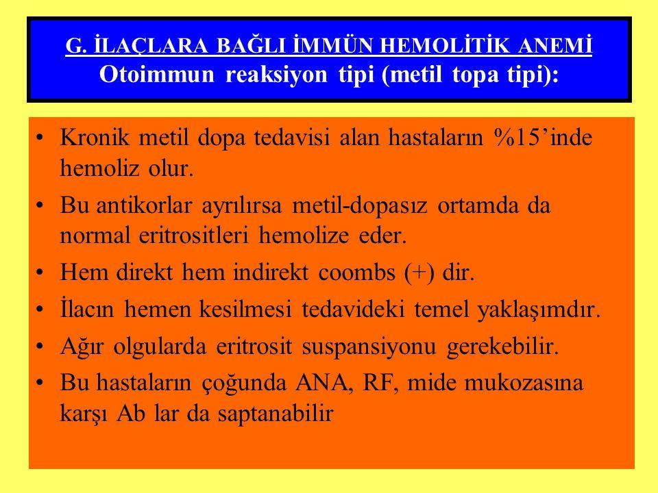 G. İLAÇLARA BAĞLI İMMÜN HEMOLİTİK ANEMİ Otoimmun reaksiyon tipi (metil topa tipi): Kronik metil dopa tedavisi alan hastaların %15'inde hemoliz olur. B