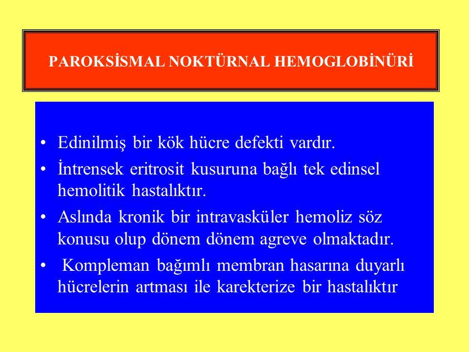 PAROKSİSMAL NOKTÜRNAL HEMOGLOBİNÜRİ Edinilmiş bir kök hücre defekti vardır. İntrensek eritrosit kusuruna bağlı tek edinsel hemolitik hastalıktır. Aslı