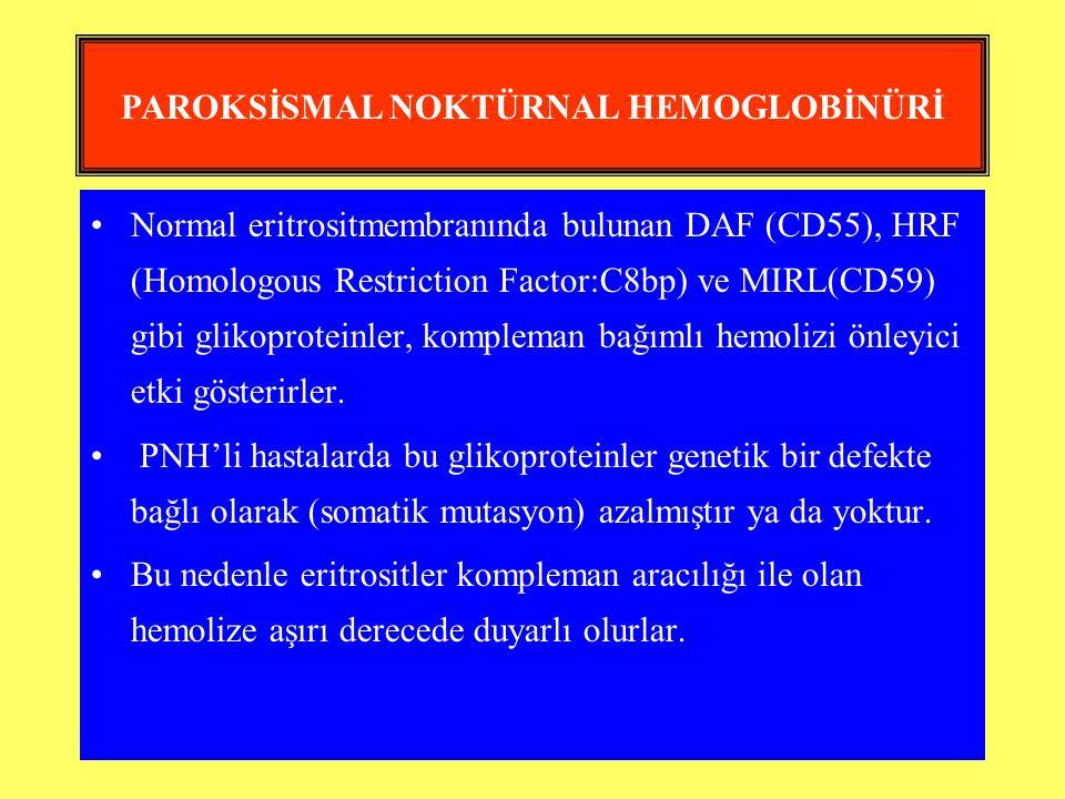 Normal eritrositmembranında bulunan DAF (CD55), HRF (Homologous Restriction Factor:C8bp) ve MIRL(CD59) gibi glikoproteinler, kompleman bağımlı hemoliz