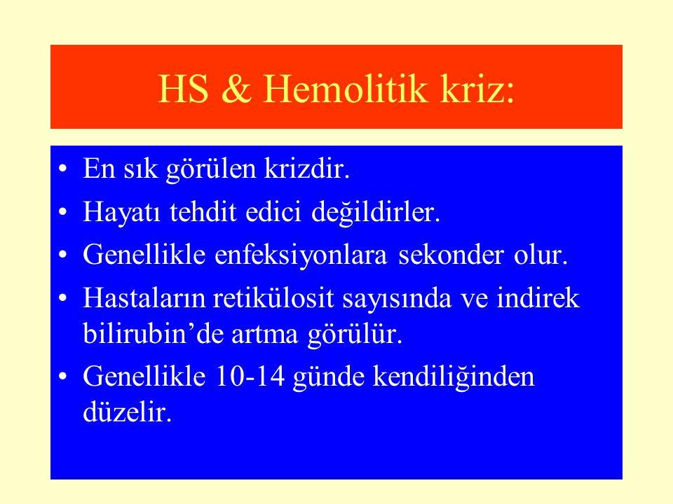 HS & Hemolitik kriz: En sık görülen krizdir. Hayatı tehdit edici değildirler. Genellikle enfeksiyonlara sekonder olur. Hastaların retikülosit sayısınd