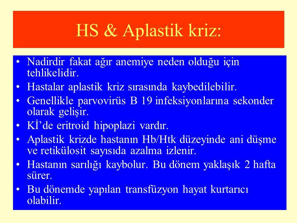 HS & Aplastik kriz: Nadirdir fakat ağır anemiye neden olduğu için tehlikelidir. Hastalar aplastik kriz sırasında kaybedilebilir. Genellikle parvovirüs