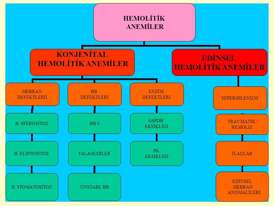 Edinsel hemolitik anemiler Akut olarak gelişirse klinik tablo çok ağırdır.