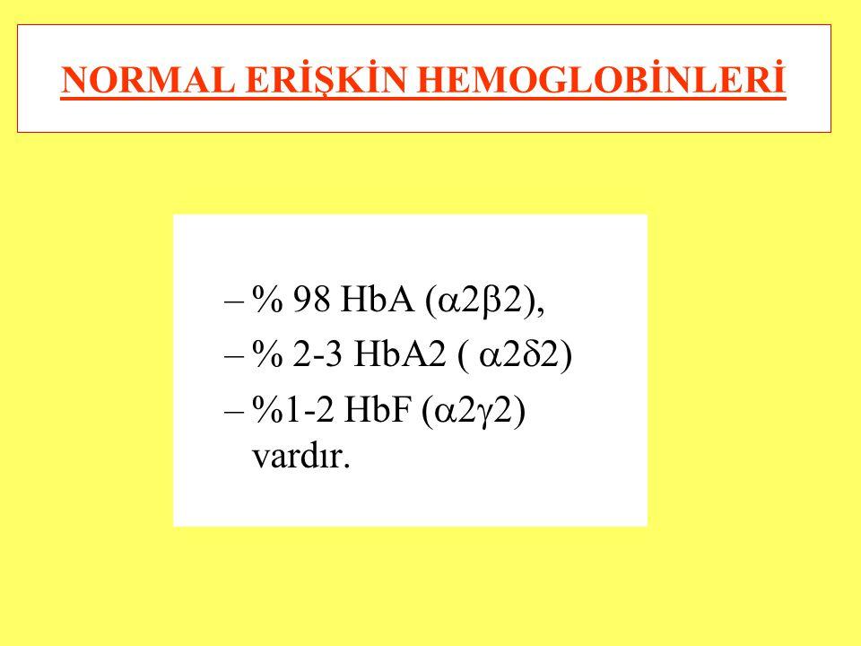 NORMAL ERİŞKİN HEMOGLOBİNLERİ –% 98 HbA (  2  2), –% 2-3 HbA2 (  2  2) –%1-2 HbF (  2  2) vardır.