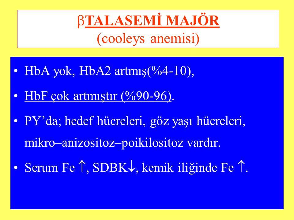 HbA yok, HbA2 artmış(%4-10), HbF çok artmıştır (%90-96). PY'da; hedef hücreleri, göz yaşı hücreleri, mikro–anizositoz–poikilositoz vardır. Serum Fe ,