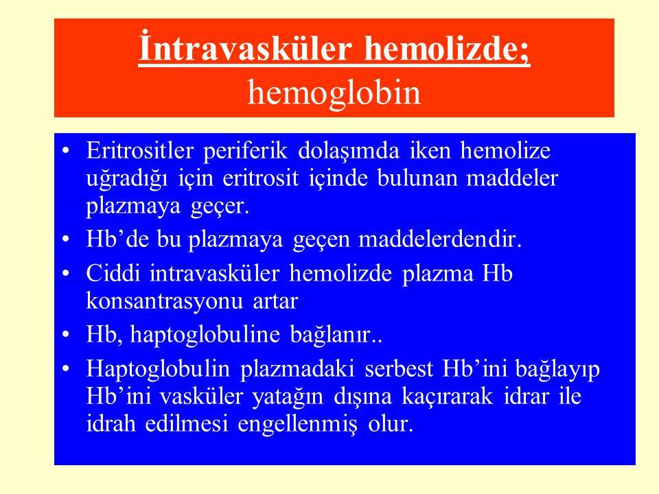 İntravasküler hemolizde; hemoglobin Eritrositler periferik dolaşımda iken hemolize uğradığı için eritrosit içinde bulunan maddeler plazmaya geçer. Hb'