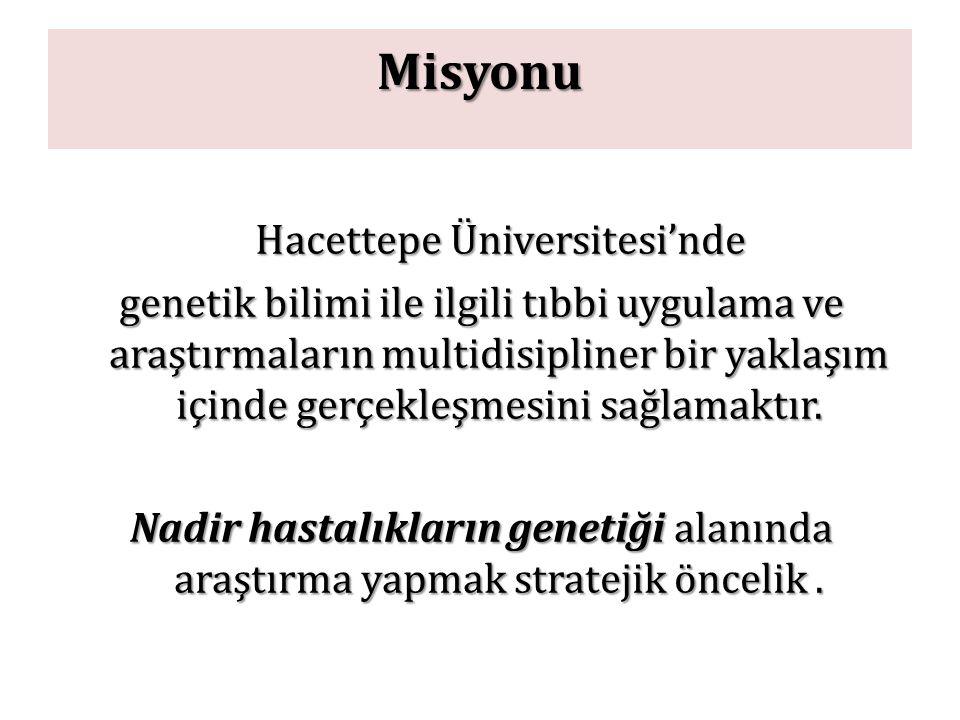 Misyonu Hacettepe Üniversitesi'nde genetik bilimi ile ilgili tıbbi uygulama ve araştırmaların multidisipliner bir yaklaşım içinde gerçekleşmesini sağl