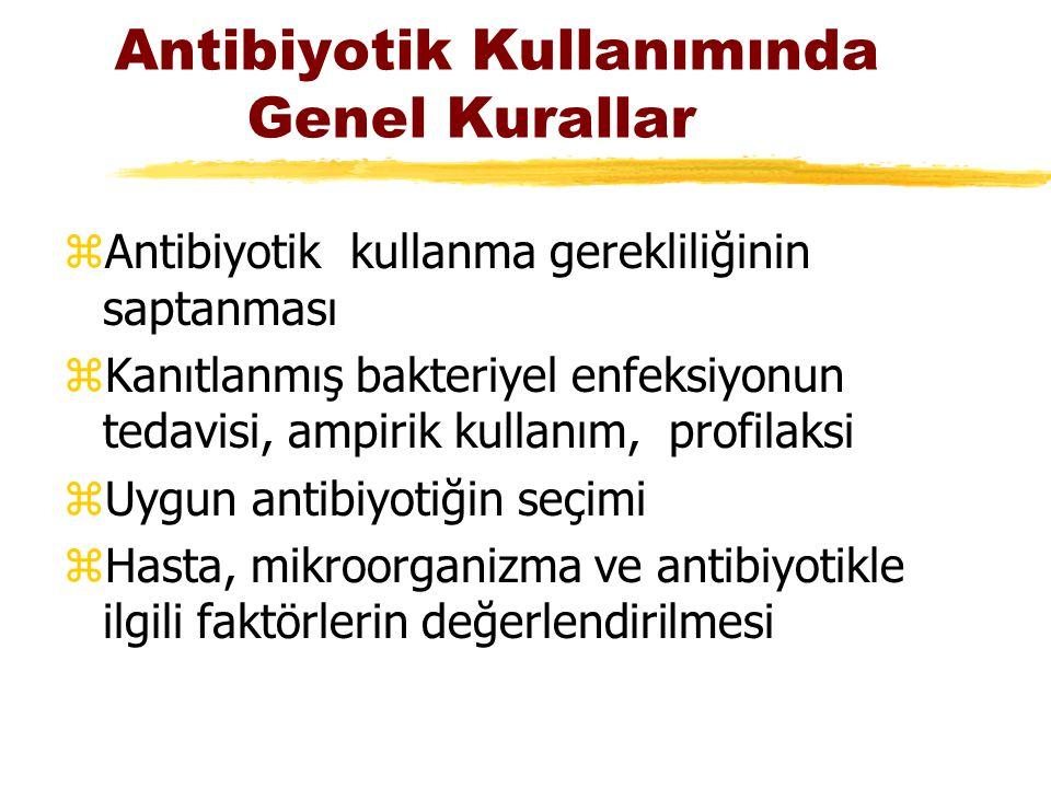 Antibiyotik Kullanımında Genel Kurallar zAntibiyotik kullanma gerekliliğinin saptanması zKanıtlanmış bakteriyel enfeksiyonun tedavisi, ampirik kullanı