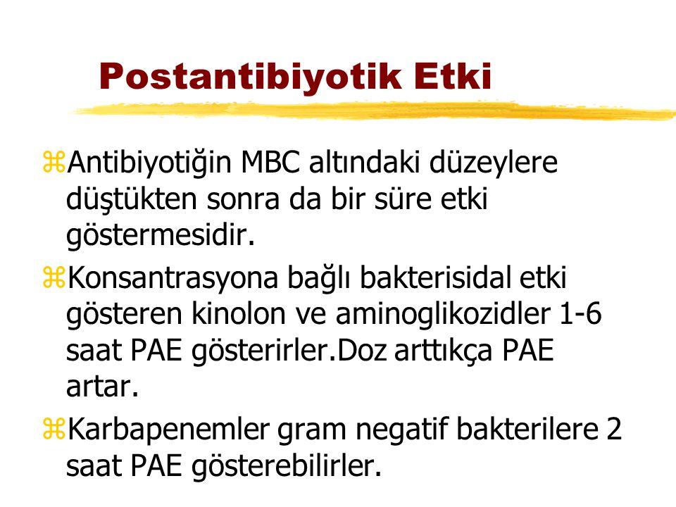 Postantibiyotik Etki zAntibiyotiğin MBC altındaki düzeylere düştükten sonra da bir süre etki göstermesidir. zKonsantrasyona bağlı bakterisidal etki gö