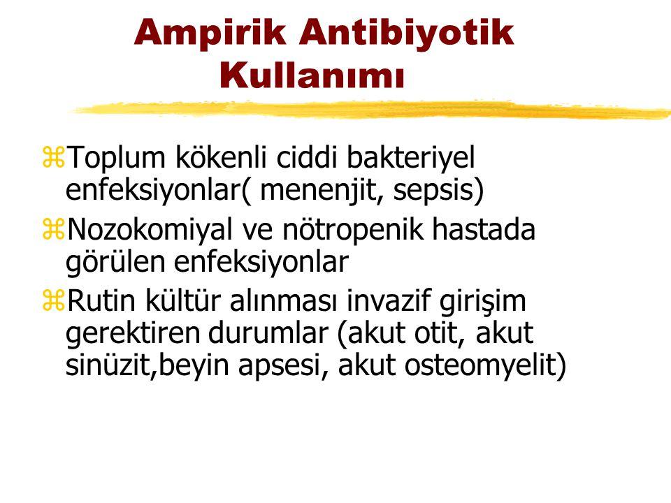 Ampirik Antibiyotik Kullanımı zToplum kökenli ciddi bakteriyel enfeksiyonlar( menenjit, sepsis) zNozokomiyal ve nötropenik hastada görülen enfeksiyonl