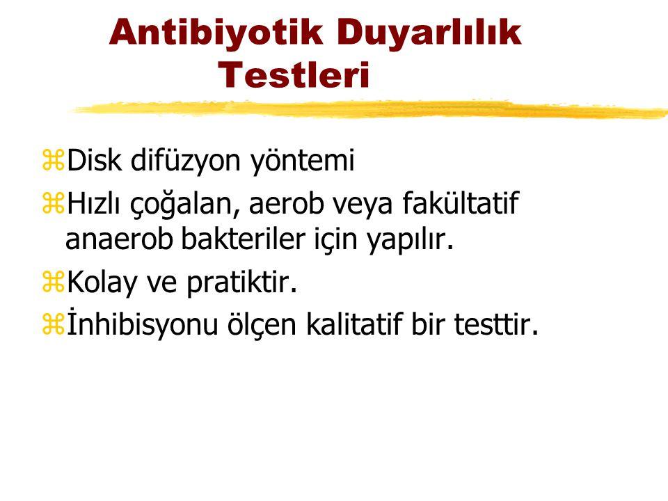 Antibiyotik Duyarlılık Testleri zDisk difüzyon yöntemi zHızlı çoğalan, aerob veya fakültatif anaerob bakteriler için yapılır. zKolay ve pratiktir. zİn