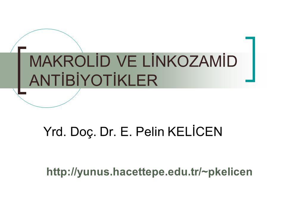 MAKROLİD VE LİNKOZAMİD ANTİBİYOTİKLER Yrd. Doç. Dr. E. Pelin KELİCEN http://yunus.hacettepe.edu.tr/~pkelicen
