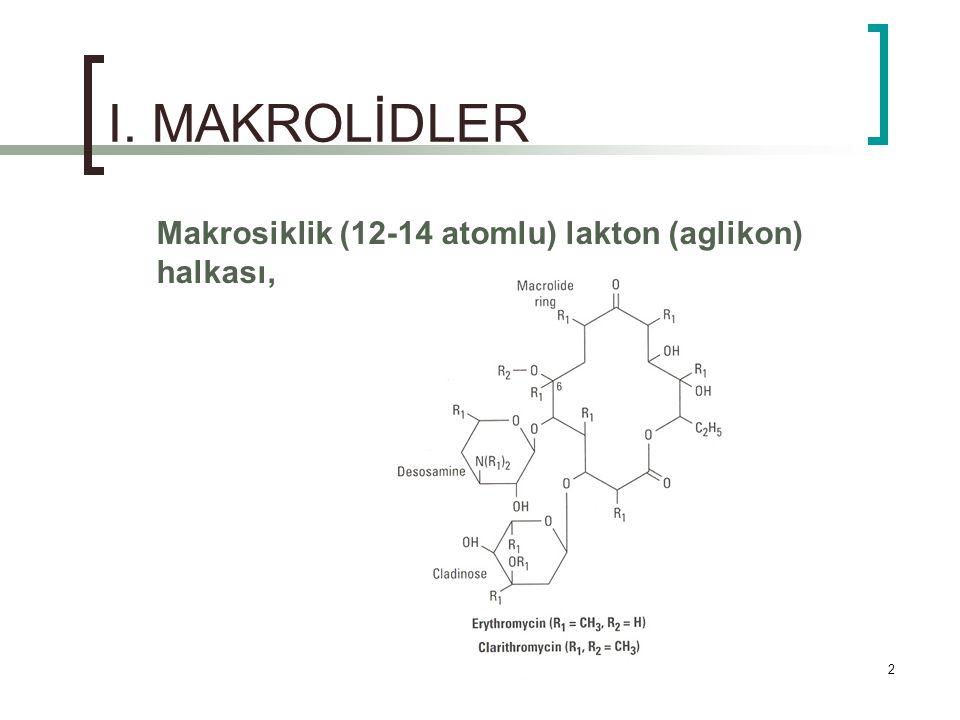 2 I. MAKROLİDLER Makrosiklik (12-14 atomlu) lakton (aglikon) halkası,