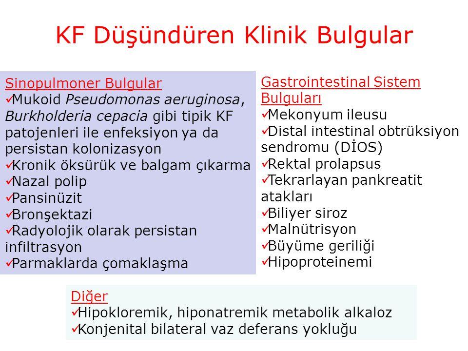 KF Düşündüren Klinik Bulgular Sinopulmoner Bulgular Mukoid Pseudomonas aeruginosa, Burkholderia cepacia gibi tipik KF patojenleri ile enfeksiyon ya da