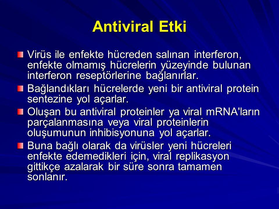 Antiviral Etki Virüs ile enfekte hücreden salınan interferon, enfekte olmamış hücrelerin yüzeyinde bulunan interferon reseptörlerine bağlanırlar. Bağl