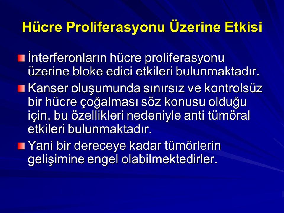Hücre Proliferasyonu Üzerine Etkisi İnterferonların hücre proliferasyonu üzerine bloke edici etkileri bulunmaktadır. Kanser oluşumunda sınırsız ve kon