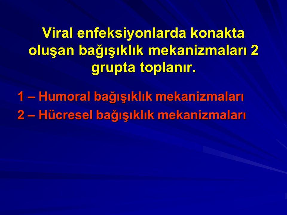 Viral enfeksiyonlarda konakta oluşan bağışıklık mekanizmaları 2 grupta toplanır. 1 – Humoral bağışıklık mekanizmaları 2 – Hücresel bağışıklık mekanizm