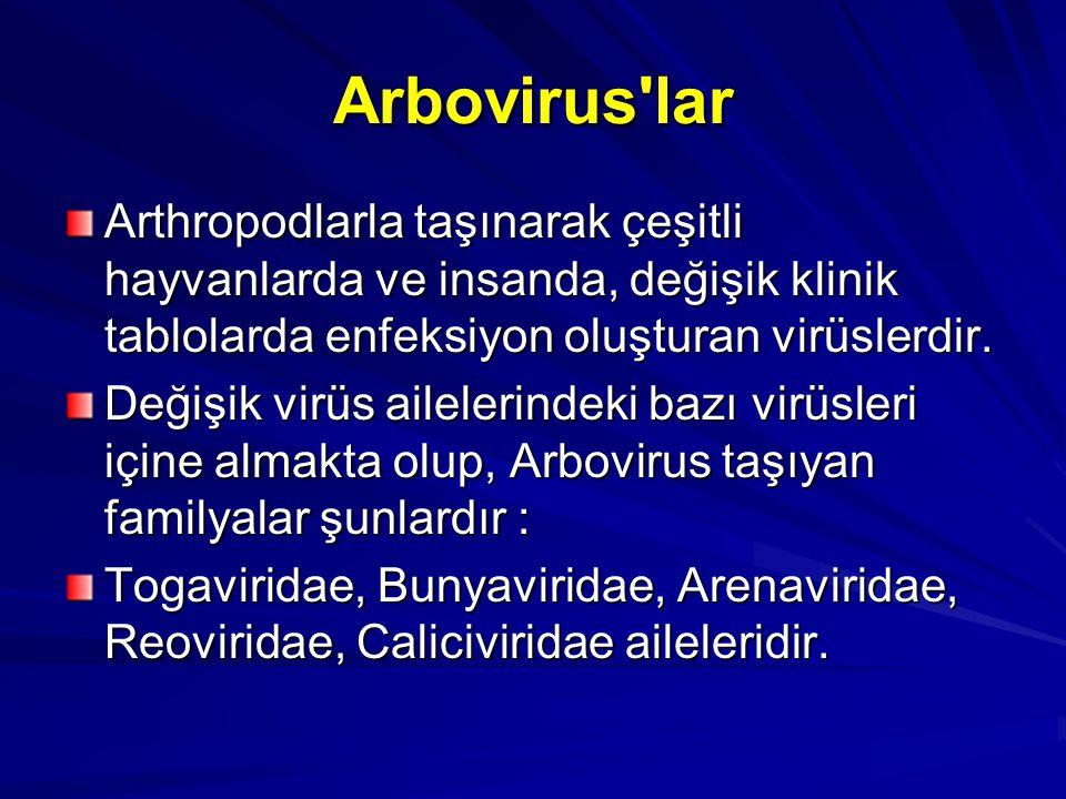 Arbovirus'lar Arthropodlarla taşınarak çeşitli hayvanlarda ve insanda, değişik klinik tablolarda enfeksiyon oluşturan virüslerdir. Değişik virüs ailel