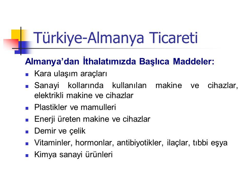 Türkiye-Almanya Ticareti Almanya'dan İthalatımızda Başlıca Maddeler: Kara ulaşım araçları Sanayi kollarında kullanılan makine ve cihazlar, elektrikli