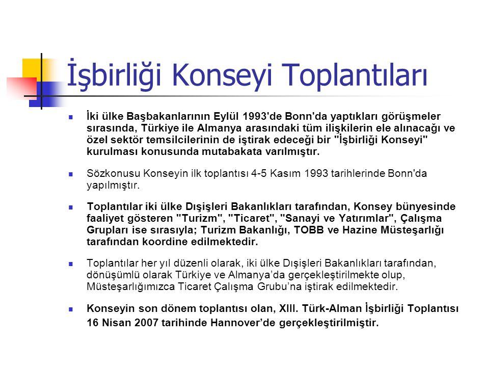 İşbirliği Konseyi Toplantıları İki ülke Başbakanlarının Eylül 1993'de Bonn'da yaptıkları görüşmeler sırasında, Türkiye ile Almanya arasındaki tüm iliş