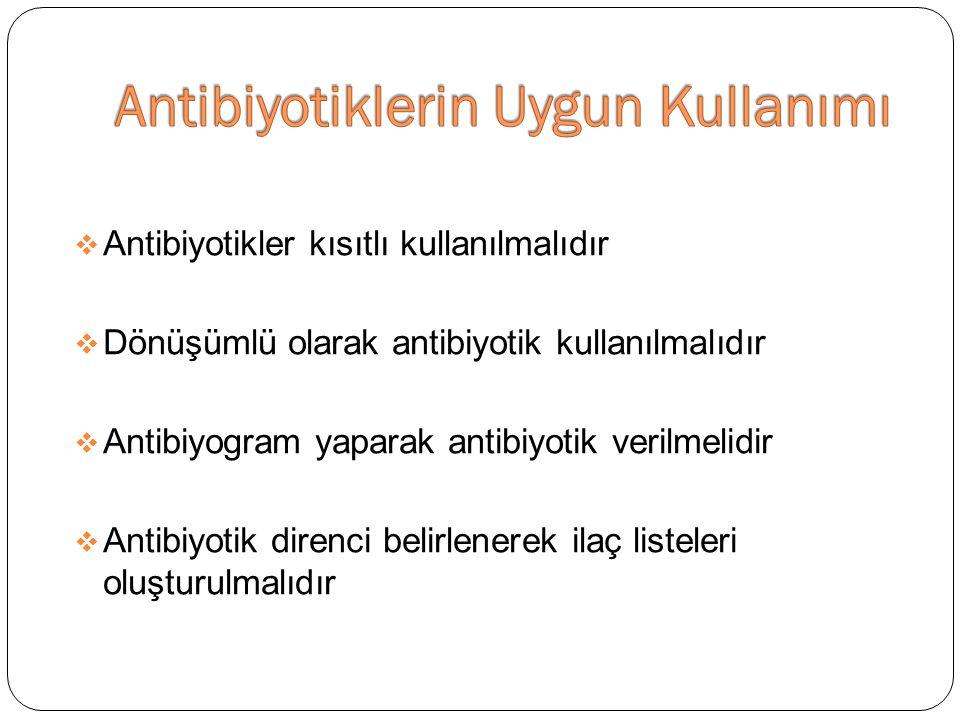  Antibiyotikler kısıtlı kullanılmalıdır  Dönüşümlü olarak antibiyotik kullanılmalıdır  Antibiyogram yaparak antibiyotik verilmelidir  Antibiyotik