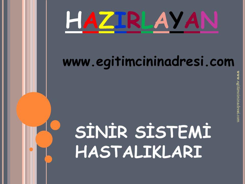 HAZIRLAYANHAZIRLAYAN www.egitimcininadresi.com SİNİR SİSTEMİ HASTALIKLARI www.egitimcininadresi.com