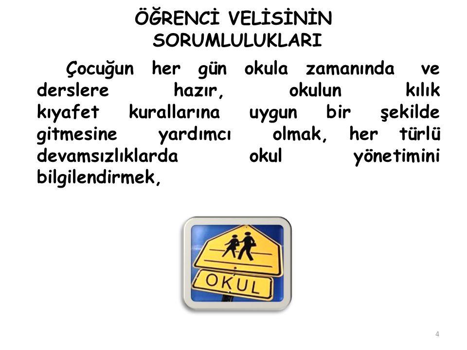 OKUL-AİLE İŞ BİRLİĞİ SÜRECİ 15 Veliler, diğer öğrencilere okul sınırları içerisinde ve servislerde herhangi bir şekilde müdahalede bulunamaz.