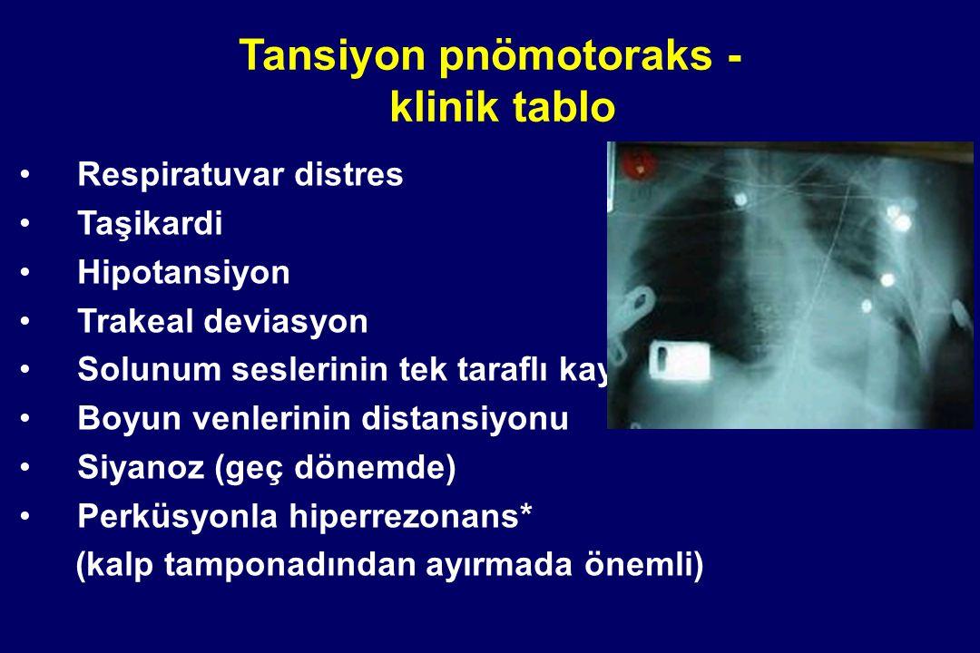 Tansiyon pnömotoraks - klinik tablo Respiratuvar distres Taşikardi Hipotansiyon Trakeal deviasyon Solunum seslerinin tek taraflı kaybı Boyun venlerini