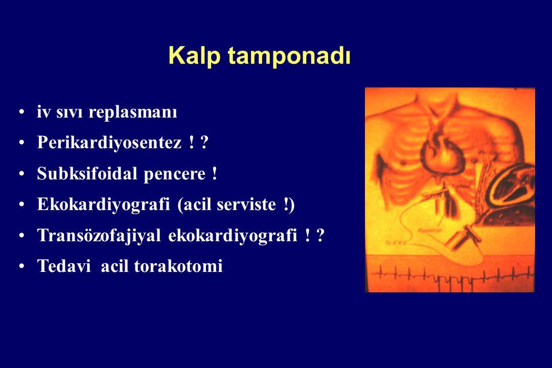 Kalp tamponadı iv sıvı replasmanı Perikardiyosentez ! ? Subksifoidal pencere ! Ekokardiyografi (acil serviste !) Transözofajiyal ekokardiyografi ! ? T