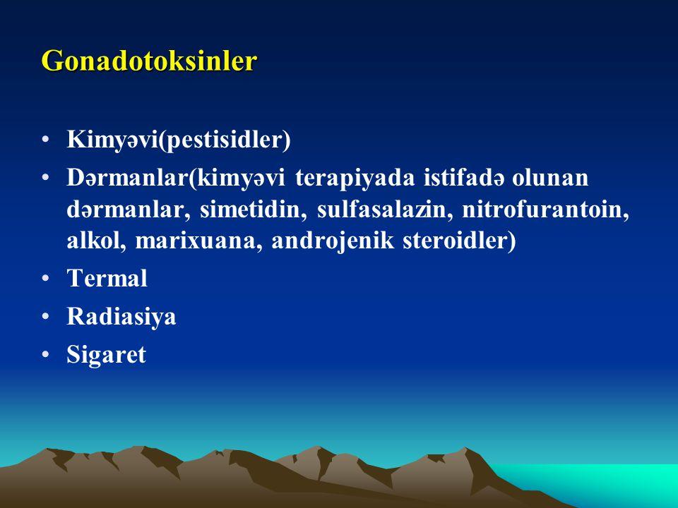 Gonadotoksinler Kimyəvi(pestisidler) Dərmanlar(kimyəvi terapiyada istifadə olunan dərmanlar, simetidin, sulfasalazin, nitrofurantoin, alkol, marixuana