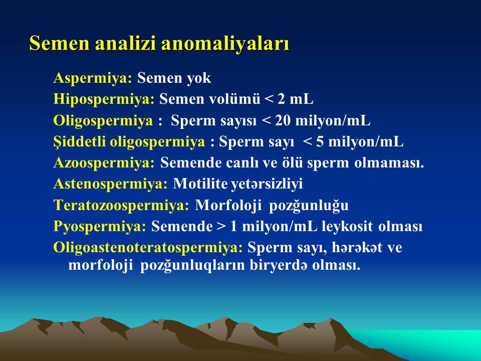 Semen analizi anomaliyaları Aspermiya: Semen yok Hipospermiya: Semen volümü < 2 mL Oligospermiya : Sperm sayısı < 20 milyon/mL Şiddetli oligospermiya