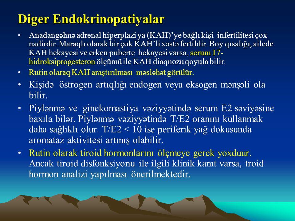 Diger Endokrinopatiyalar Anadangəlmə adrenal hiperplazi ya (KAH)'ye bağlı kişi infertilitesi çox nadirdir. Maraqlı olarak bir çok KAH'li xəstə fertild
