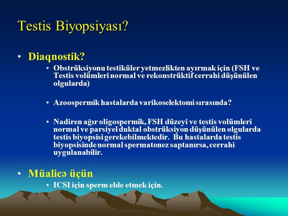 Testis Biyopsiyası? Diaqnostik? Obstrüksiyonu testiküler yetmezlikten ayırmak için (FSH ve Testis volümleri normal ve rekonstrüktif cerrahi düşünülen
