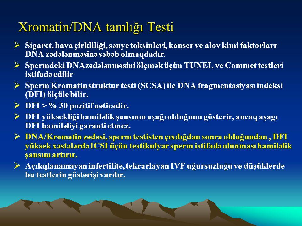 Xromatin/DNA tamlığı Testi  Sigaret, hava çirkliliği, sənye toksinleri, kanser ve alov kimi faktorlarr DNA zədələnməsinə səbəb olmaqdadır.  Spermdek