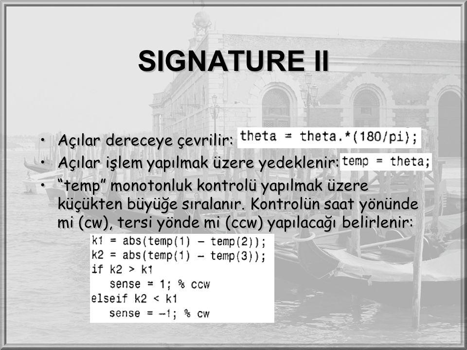 """SIGNATURE II Açılar dereceye çevrilir: Açılar işlem yapılmak üzere yedeklenir: """"temp"""" monotonluk kontrolü yapılmak üzere küçükten büyüğe sıralanır. Ko"""