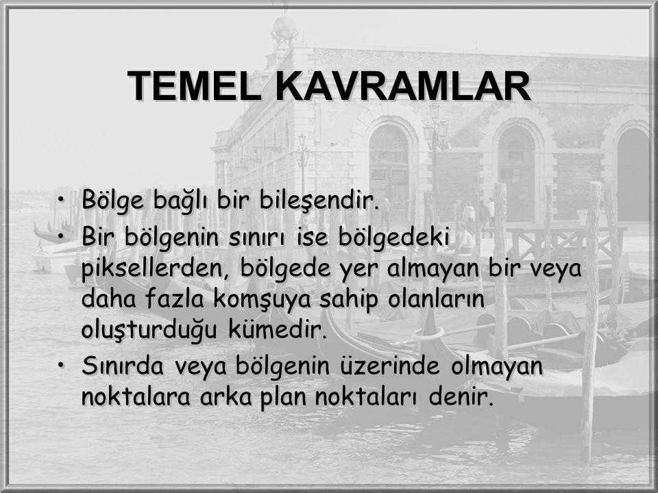 TEMEL KAVRAMLAR Bölge bağlı bir bileşendir. Bir bölgenin sınırı ise bölgedeki piksellerden, bölgede yer almayan bir veya daha fazla komşuya sahip olan
