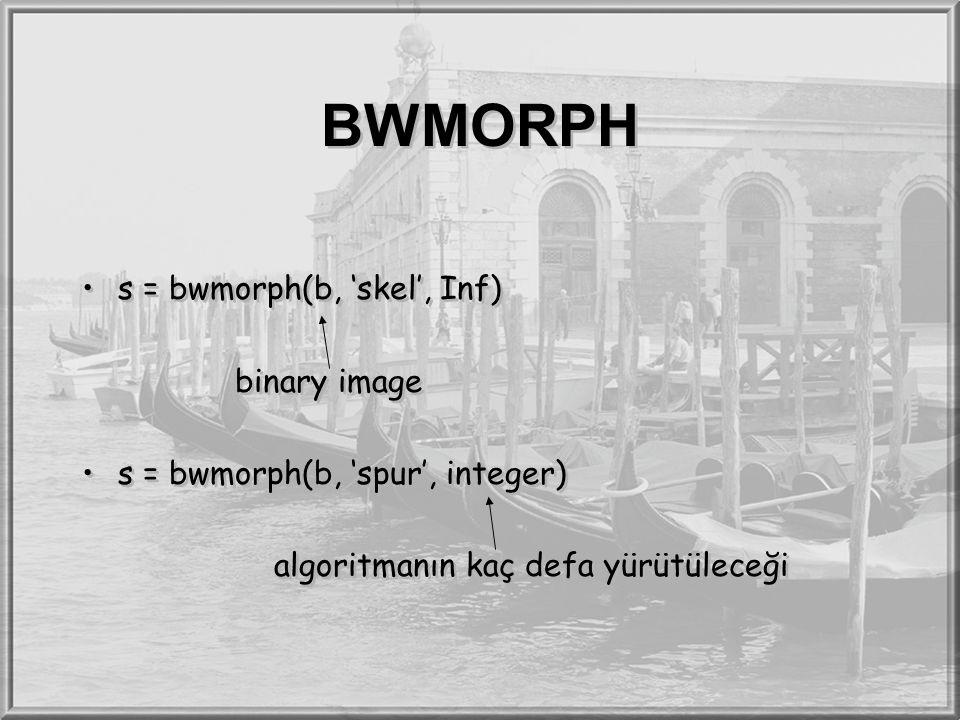 BWMORPH s = bwmorph(b, 'skel', Inf) binary image s = bwmorph(b, 'spur', integer) algoritmanın kaç defa yürütüleceği s = bwmorph(b, 'skel', Inf) binary