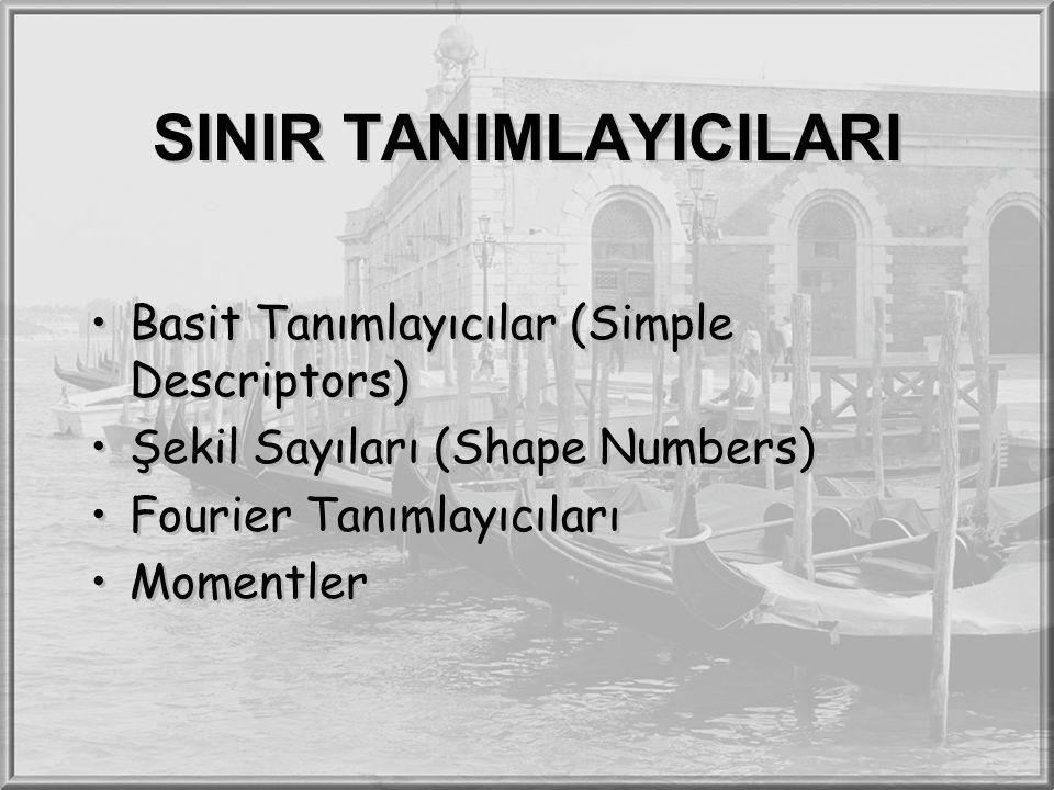 SINIR TANIMLAYICILARI Basit Tanımlayıcılar (Simple Descriptors) Şekil Sayıları (Shape Numbers) Fourier Tanımlayıcıları Momentler Basit Tanımlayıcılar