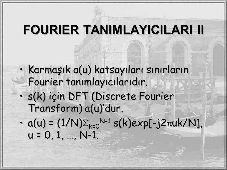 FOURIER TANIMLAYICILARI II Karmaşık a(u) katsayıları sınırların Fourier tanımlayıcılarıdır. s(k) için DFT (Discrete Fourier Transform) a(u)'dur. a(u)