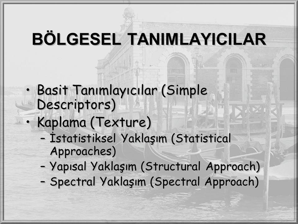 BÖLGESEL TANIMLAYICILAR Basit Tanımlayıcılar (Simple Descriptors) Kaplama (Texture) –İstatistiksel Yaklaşım (Statistical Approaches) –Yapısal Yaklaşım