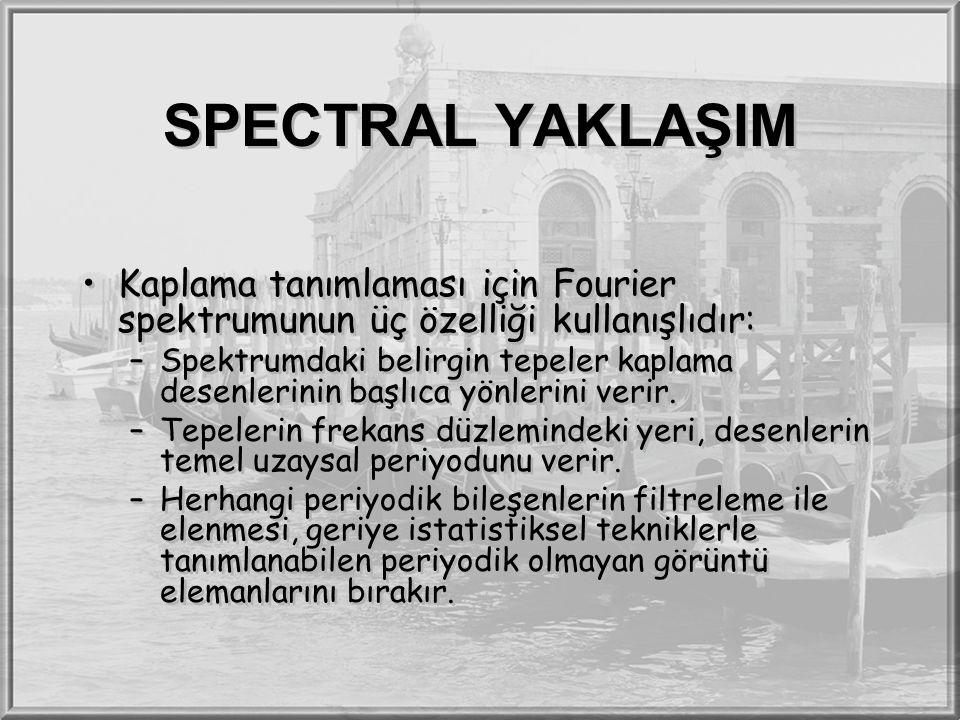 SPECTRAL YAKLAŞIM Kaplama tanımlaması için Fourier spektrumunun üç özelliği kullanışlıdır: –Spektrumdaki belirgin tepeler kaplama desenlerinin başlıca