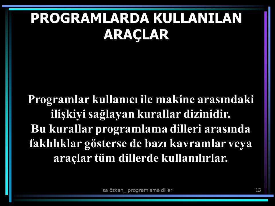 isa özkan_ programlama dilleri13 PROGRAMLARDA KULLANILAN ARAÇLAR Programlar kullanıcı ile makine arasındaki ilişkiyi sağlayan kurallar dizinidir. Bu k