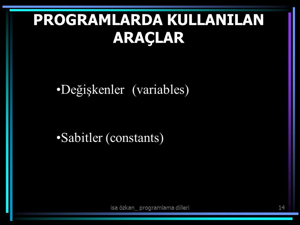 isa özkan_ programlama dilleri14 PROGRAMLARDA KULLANILAN ARAÇLAR Değişkenler (variables) Sabitler (constants)