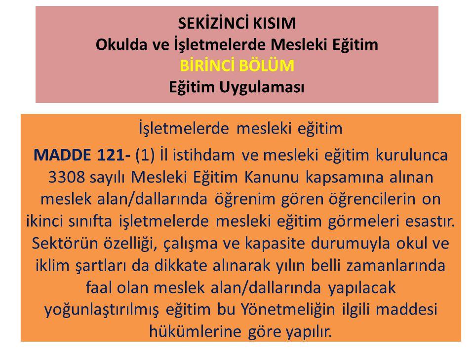 SEKİZİNCİ KISIM Okulda ve İşletmelerde Mesleki Eğitim BİRİNCİ BÖLÜM Eğitim Uygulaması İşletmelerde mesleki eğitim MADDE 121- (1) İl istihdam ve meslek