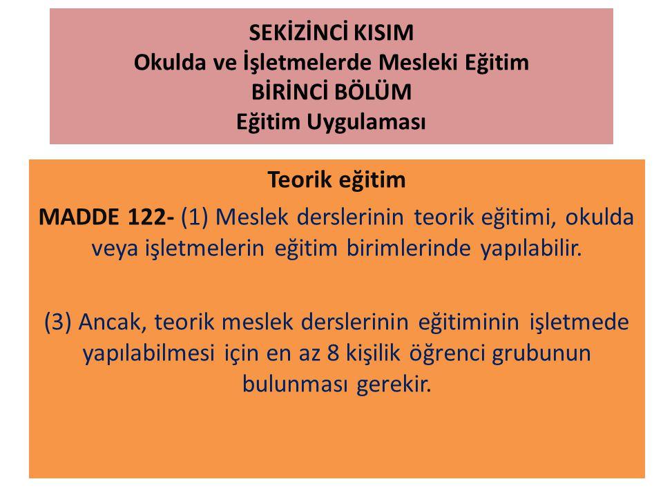 SEKİZİNCİ KISIM Okulda ve İşletmelerde Mesleki Eğitim BİRİNCİ BÖLÜM Eğitim Uygulaması Teorik eğitim MADDE 122- (1) Meslek derslerinin teorik eğitimi,