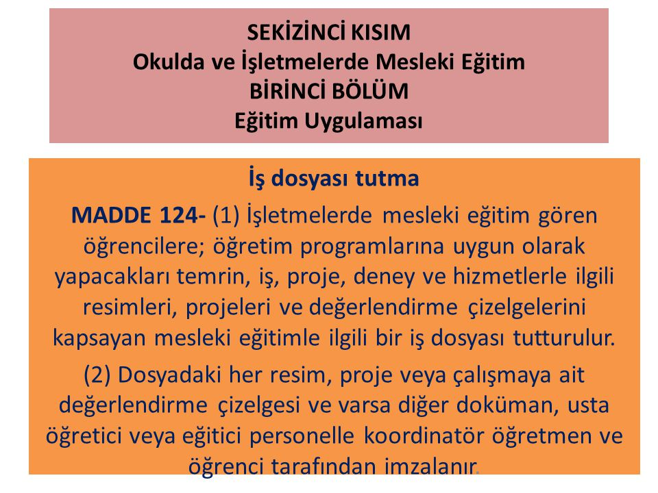 SEKİZİNCİ KISIM Okulda ve İşletmelerde Mesleki Eğitim DÖRDÜNCÜ BÖLÜM İşletmelerin Bildirilmesi, İşletme Belirleme Komisyonlarının Kuruluş ve Görevleri ile Sözleşme İşletme belirleme komisyonlarının görevleri MADDE 142- (1) Komisyonlar: a) İl ve ilçelerde mesleki eğitim yaptırmakla yükümlü işletmelerin eğitime uygunluğunu; 1) İşletmede öğretim programına uygun üretim ve hizmet yapıldığını, 2) Öğretim programının en az % 80 inin uygulanmasını sağlayacak donanıma sahip olduğunu,