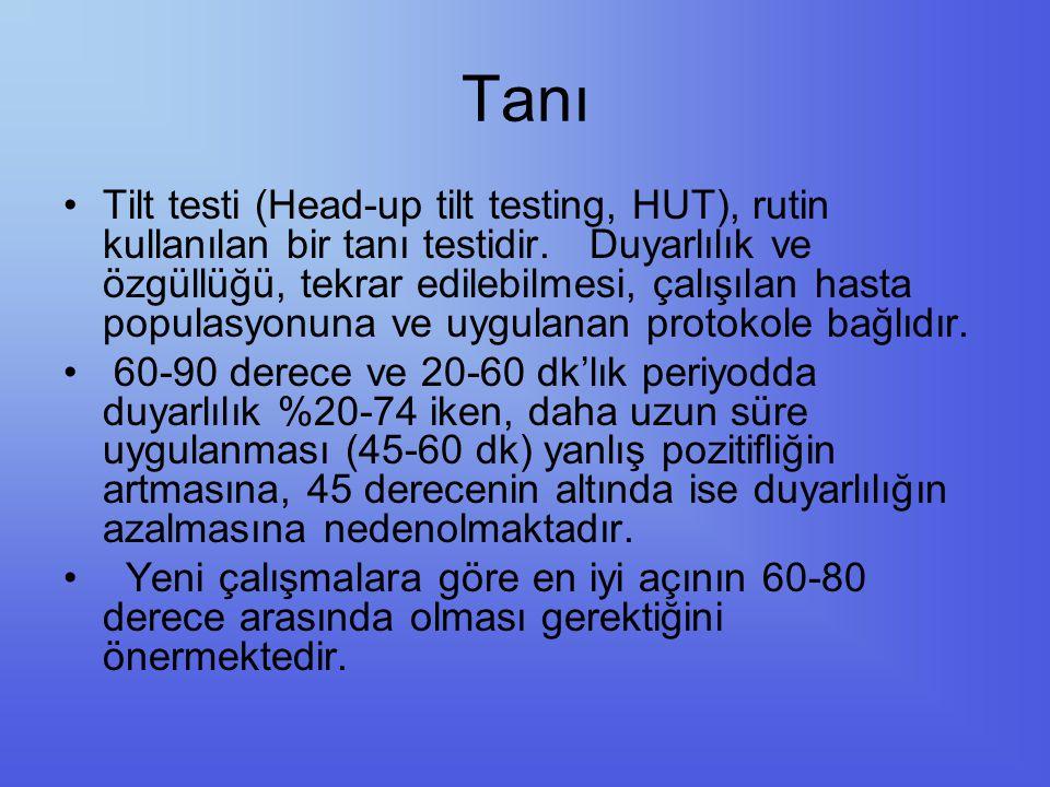 Tanı Tilt testi (Head-up tilt testing, HUT), rutin kullanılan bir tanı testidir. Duyarlılık ve özgüllüğü, tekrar edilebilmesi, çalışılan hasta populas