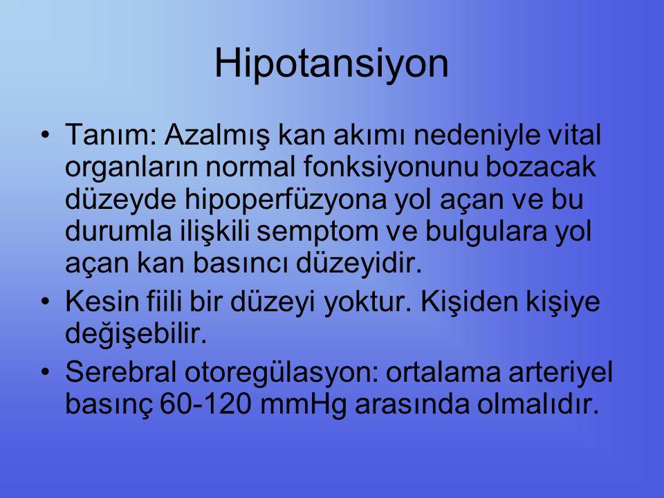 Hipotansiyon Tanım: Azalmış kan akımı nedeniyle vital organların normal fonksiyonunu bozacak düzeyde hipoperfüzyona yol açan ve bu durumla ilişkili se
