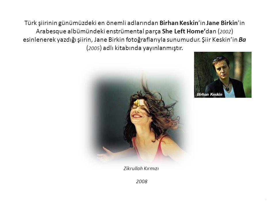 Türk şiirinin günümüzdeki en önemli adlarından Birhan Keskin'in Jane Birkin'in Arabesque albümündeki enstrümental parça She Left Home'dan ( 2002 ) esinlenerek yazdığı şiirin, Jane Birkin fotoğraflarıyla sunumudur.